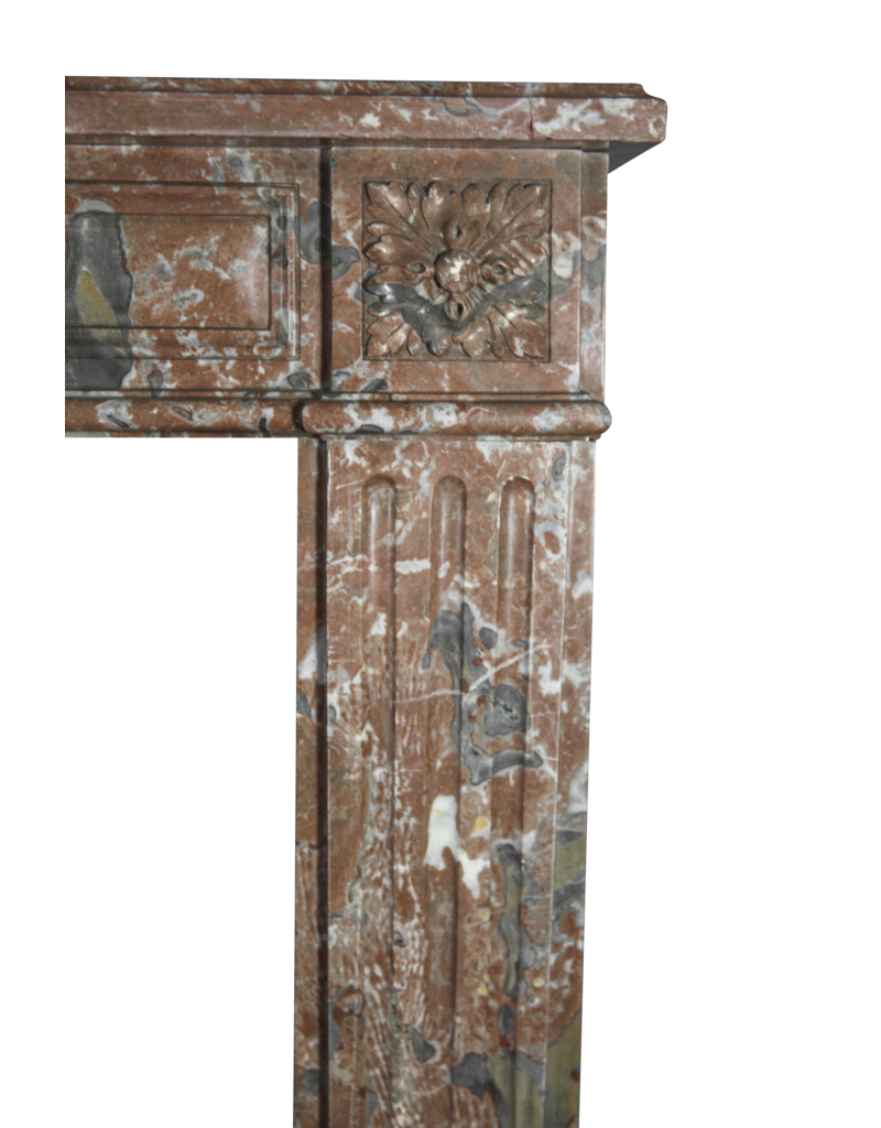 The Antique Fireplace Bank Extra Wide Brown Belgian Marble Vintage Fireplace Surround