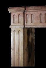 Klassische Französisch Zweifarbig Kalkstein Kaminmaske