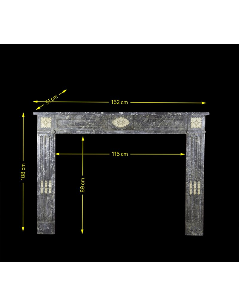 18Th Century Gris St-Anne Marble Vintage Fireplace Surround