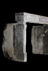 French Campagnard Limestone Fireplace Surround