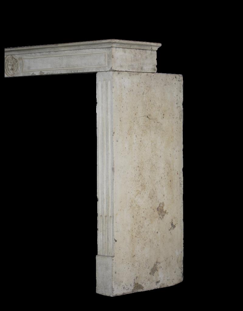 French Limestone Elegant Fireplace Mantle