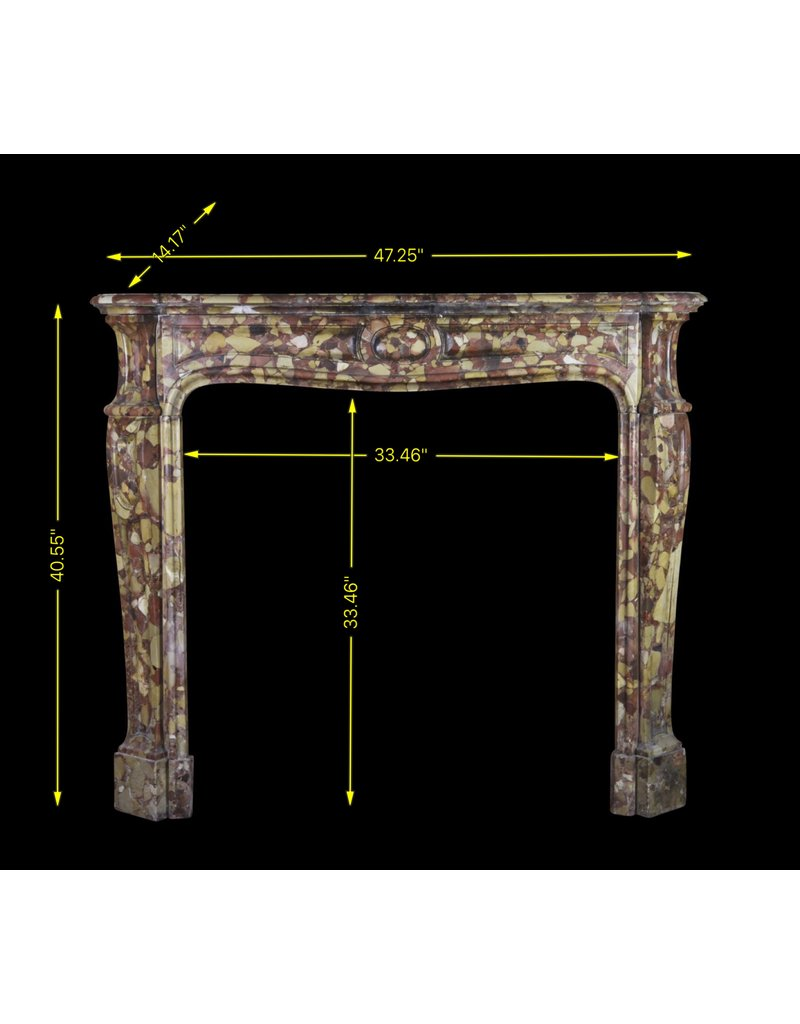 French Brêche Marble Vintage Fireplace Surround