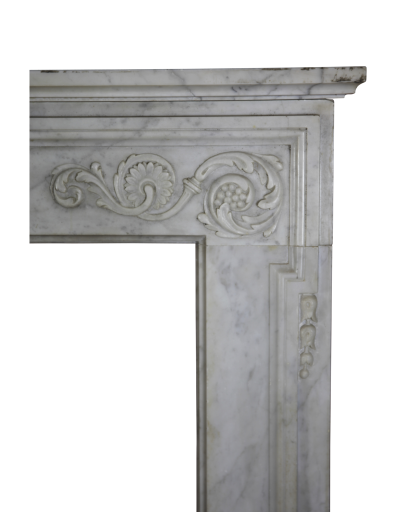 18Th Century Fine French Fireplace In Carrara Marble