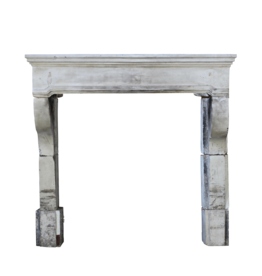 Antique French Campagnard Limestone Fireplace Surround