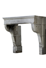 Vintage French Campagnard Limestone Fireplace Mantle