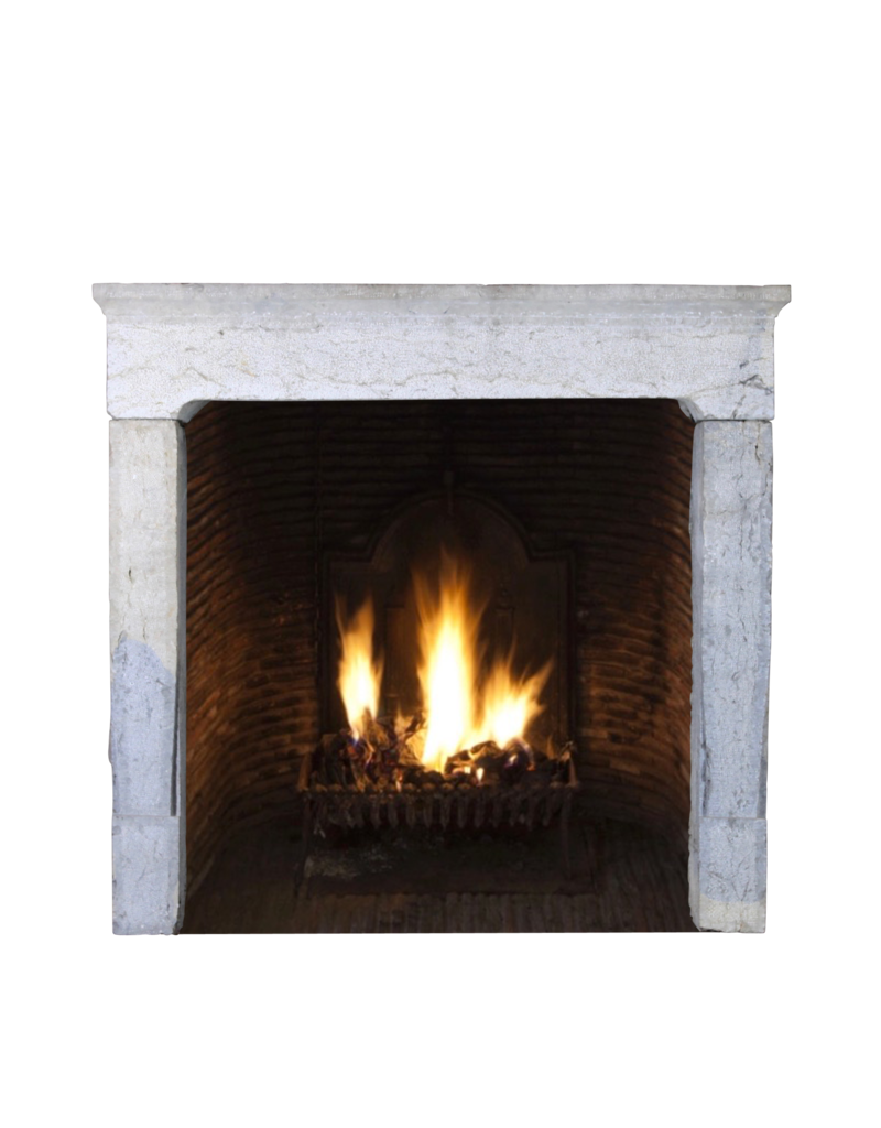 French Rustic Vintage Bicolor Hard Limestone Fireplace Surround