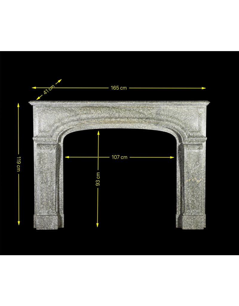 French Campan Vert Marble Vintage Fireplace Surround