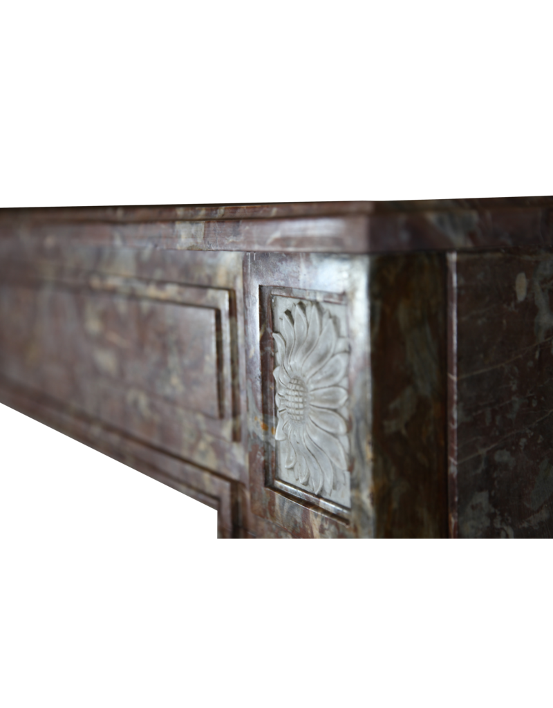 Wide Brown Belgian Marble Vintage Fireplace Surround