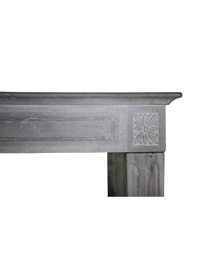 19Th Century Bleu-Grey Color Hard Limestone Fireplace Surround