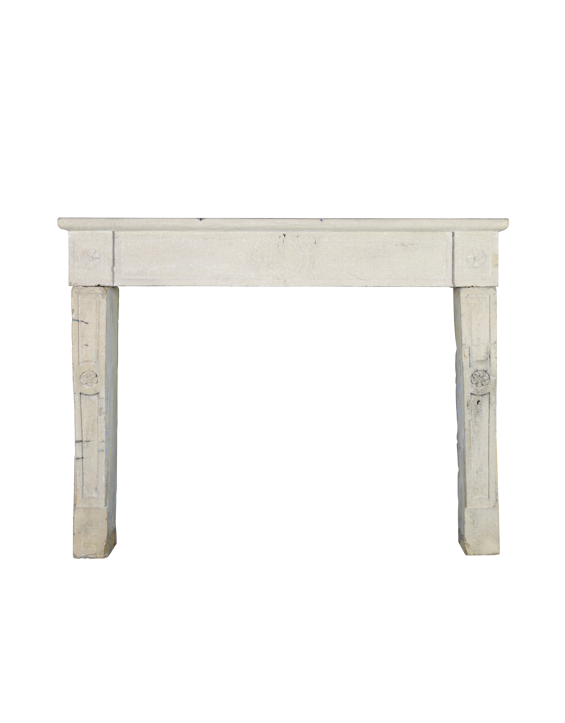 French Naive Country Limestone Fireplace Surround