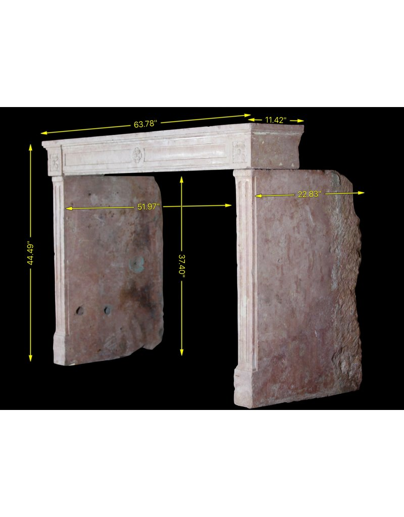 French Pink Marble Stone Vintage Fireplace Surround