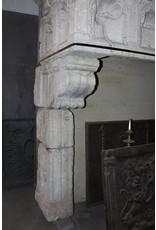 Groß Französisch Landstil-Art Kalksandstein Antike Kamin Maske