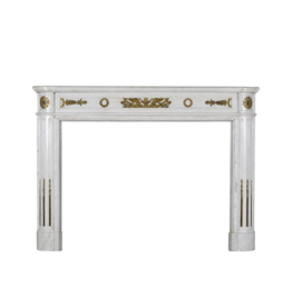 A Statuary White Marble French Antique Fireplace Surround With Brass