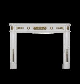 Una Estatuaria De Mármol Blanco Antiguo Francés Chimenea De Bronce