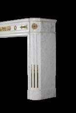 Ein Statuarisch Weißer Marmor Französisch Jahrgang Kamin Maske Mit Messing