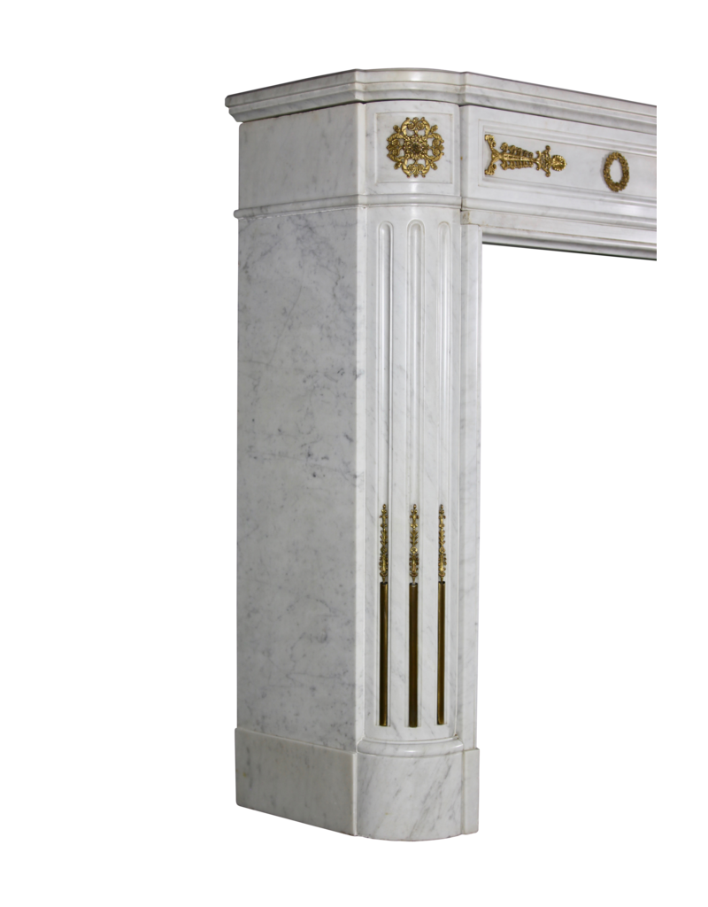 A Statuary White Marble French Vintage Fireplace Surround With Brass
