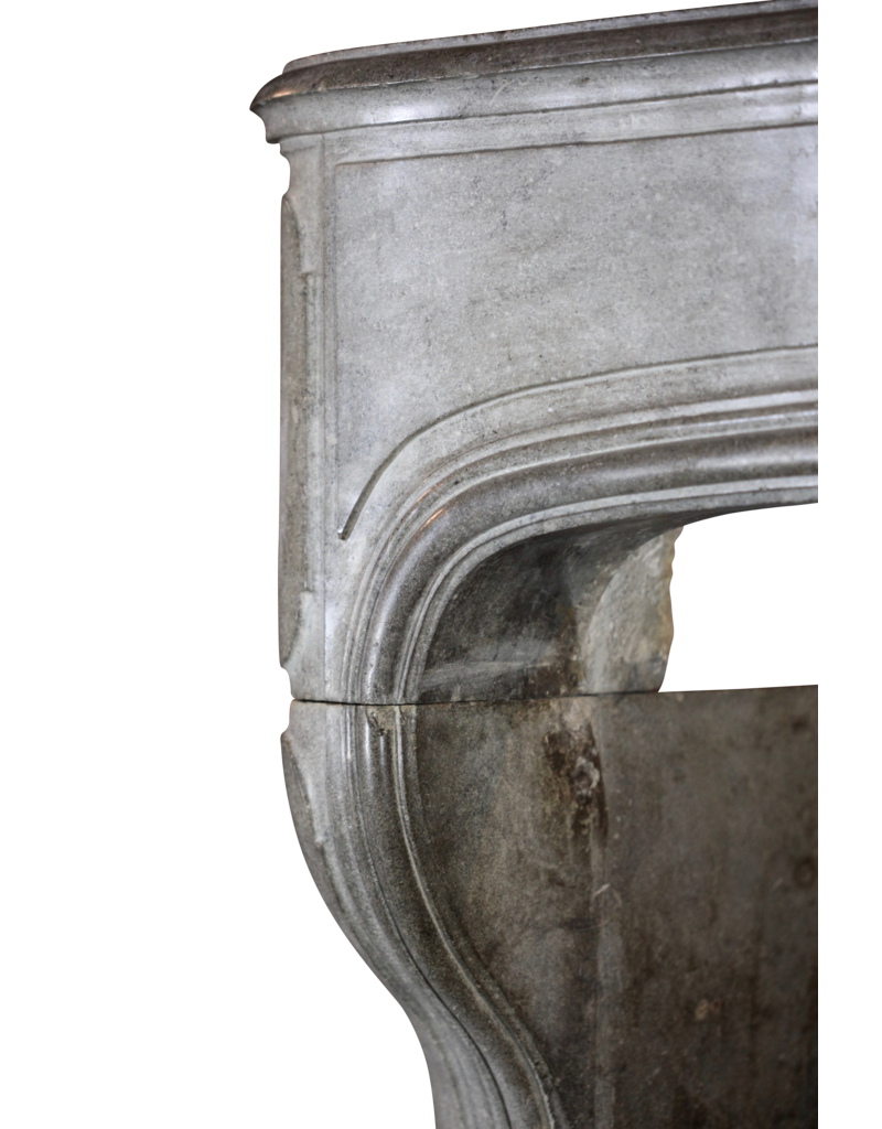 Grand 18Th Century French Antique Fireplace Surround In French Bleu Grey Hard Limestone
