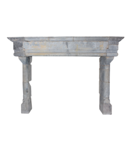 Grand French Fortress Antique Fireplace Surround In Hard Limestone