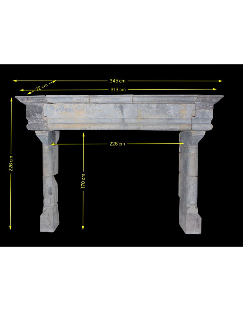 Grand French Vintage Fireplace Surround In Hard Limestone