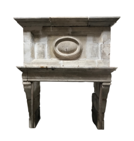 Strong 17Th Century French Antique Fireplace Surround In Limestone