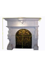 Antique Fireplace Surround In White Marble With Statues