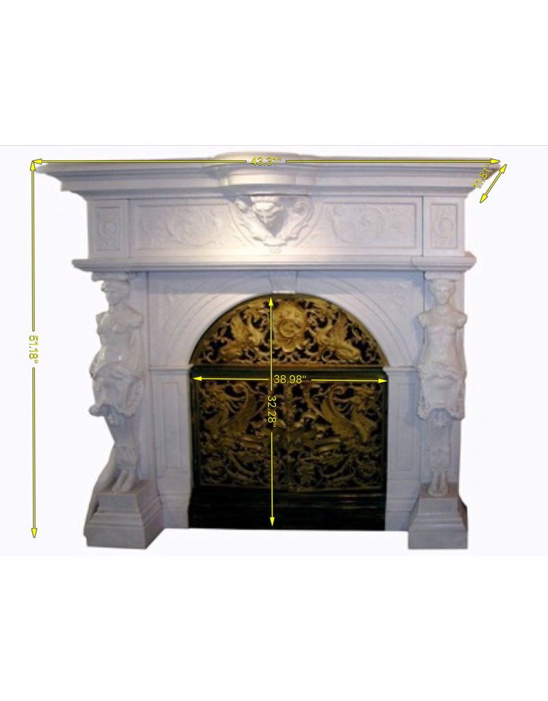 Grand Antique Fireplace Surround In White Marble With Statues The Antique Fireplace Bank