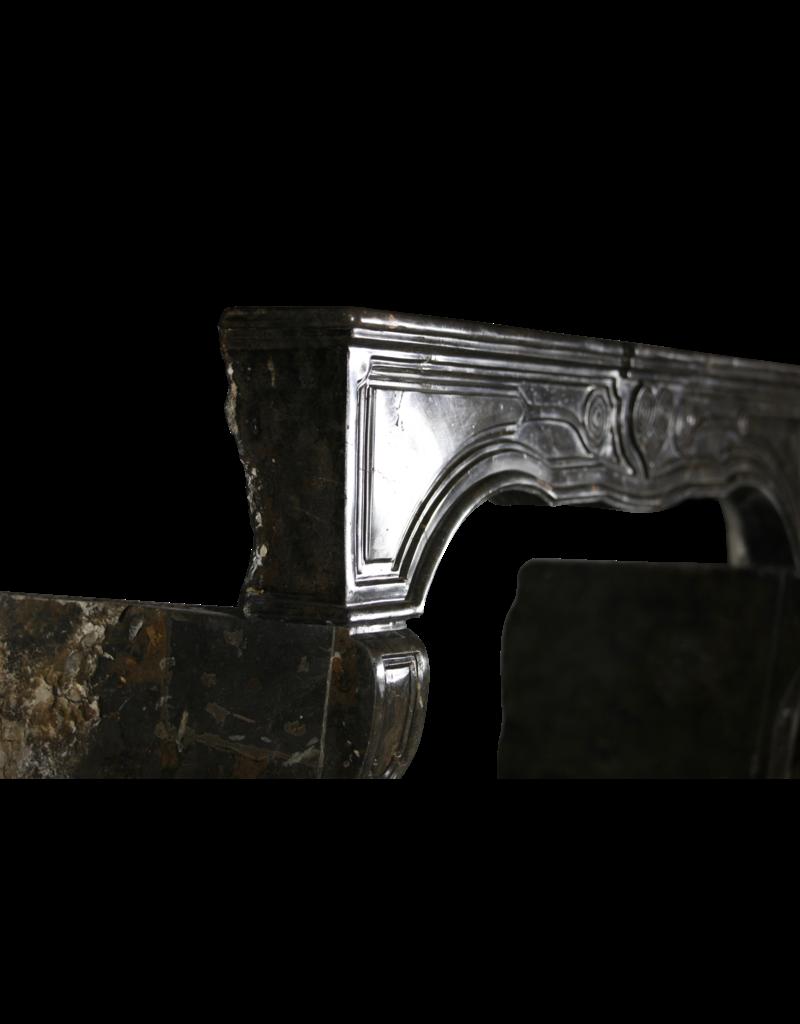 17. Jahrhundert Chique Französisch Kamin Maske In Dark Fossil Stein