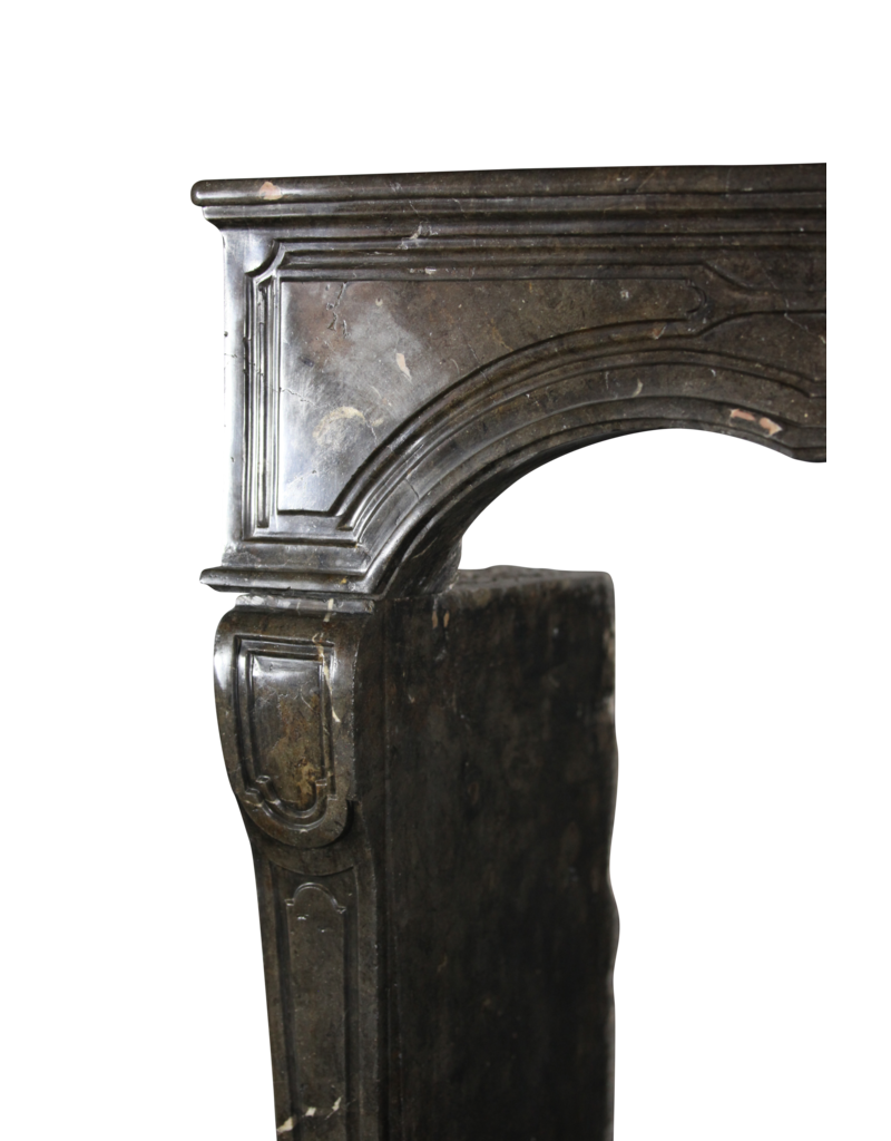 17Th Century Chique French Fireplace Surround In Dark Fossil Stone