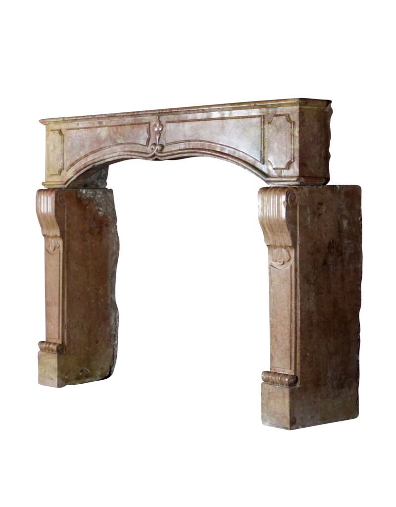 French 17Th Century Period Burgundy Bicolor Fireplace Surround