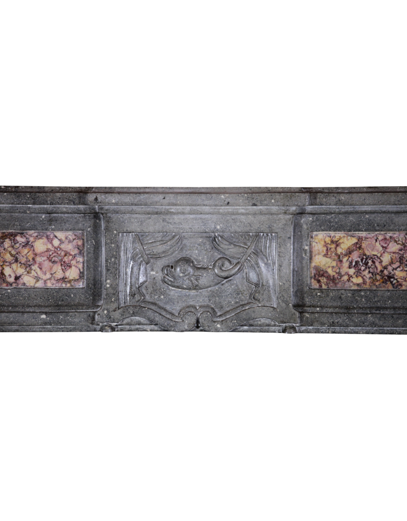 Bicolor French Antique Stone Fireplace Surround