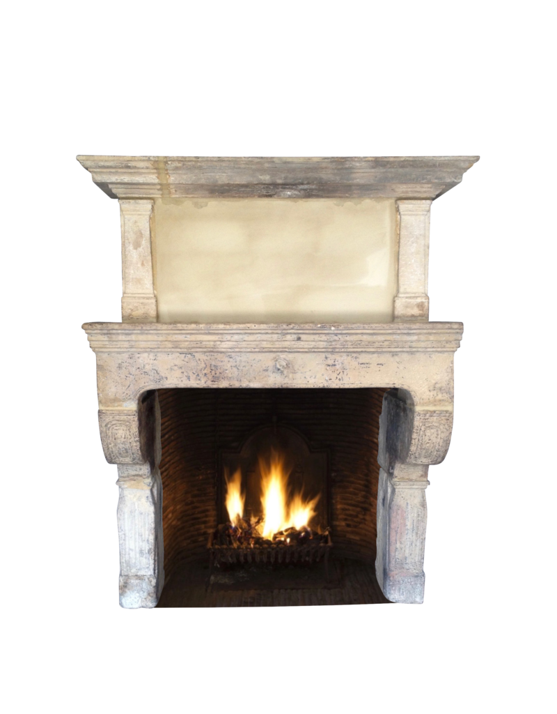 Original 17Th Century French Antique Fireplace Surround In Limestone