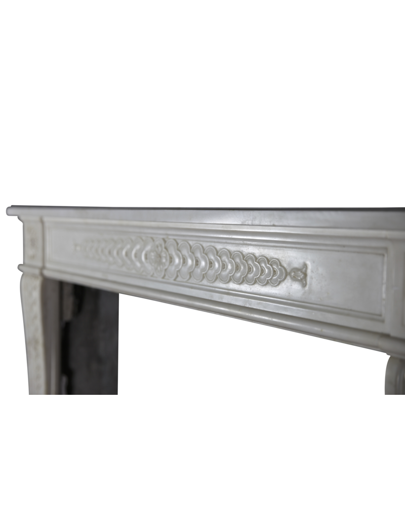Delicate Classic French Antique Fireplace Surround In White Statury Marble