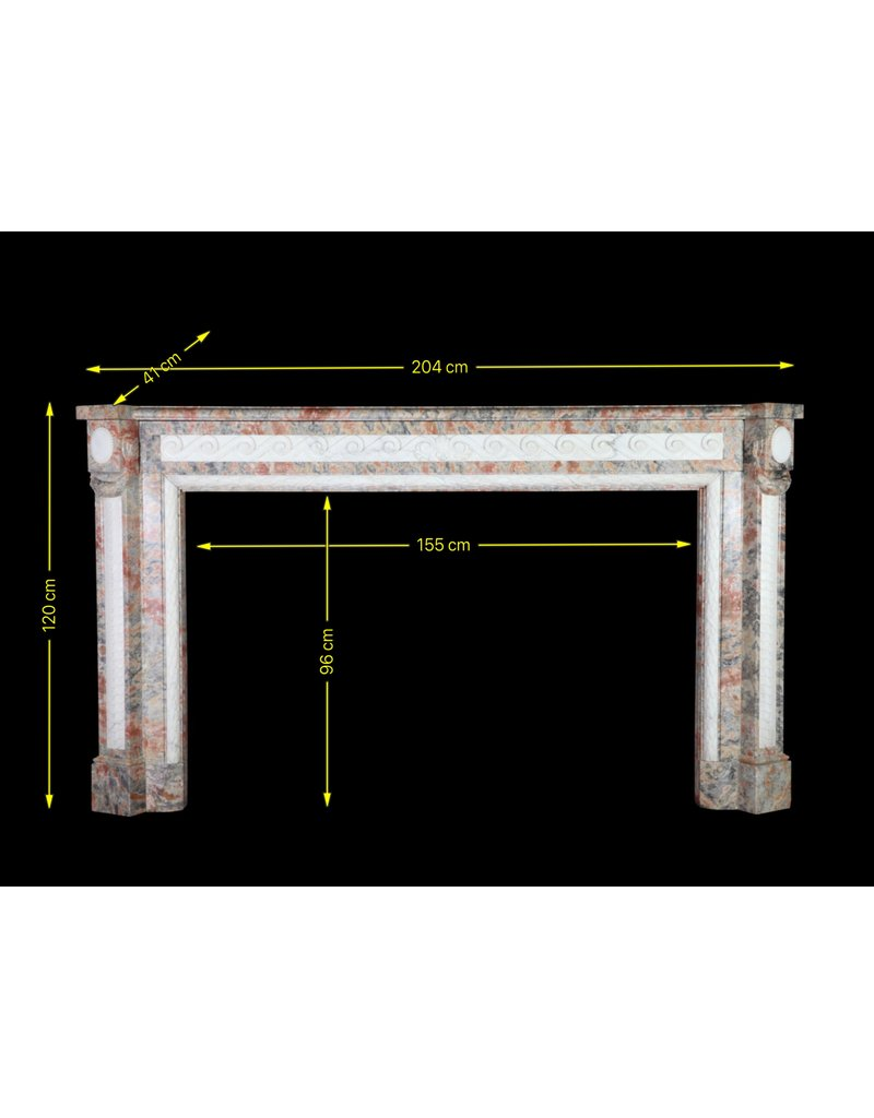 Extreme Wide Marble Antique Belgian Fireplace Surround