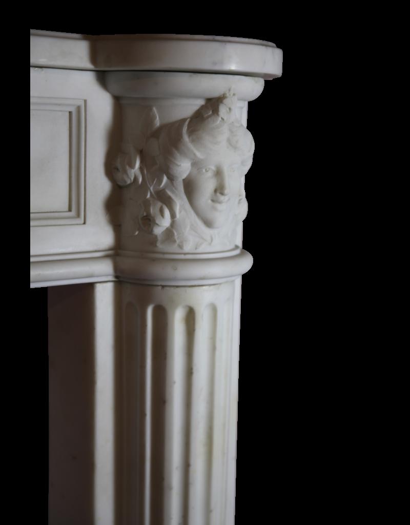 Groß Französisch Weißen Carrara-Marmor Antike Kamin Maske