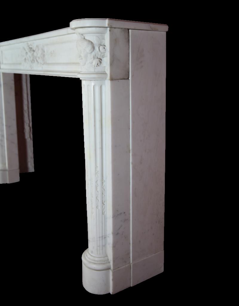 Gran Francés Mármol Blanco De Carrara Antiguo Chimenea