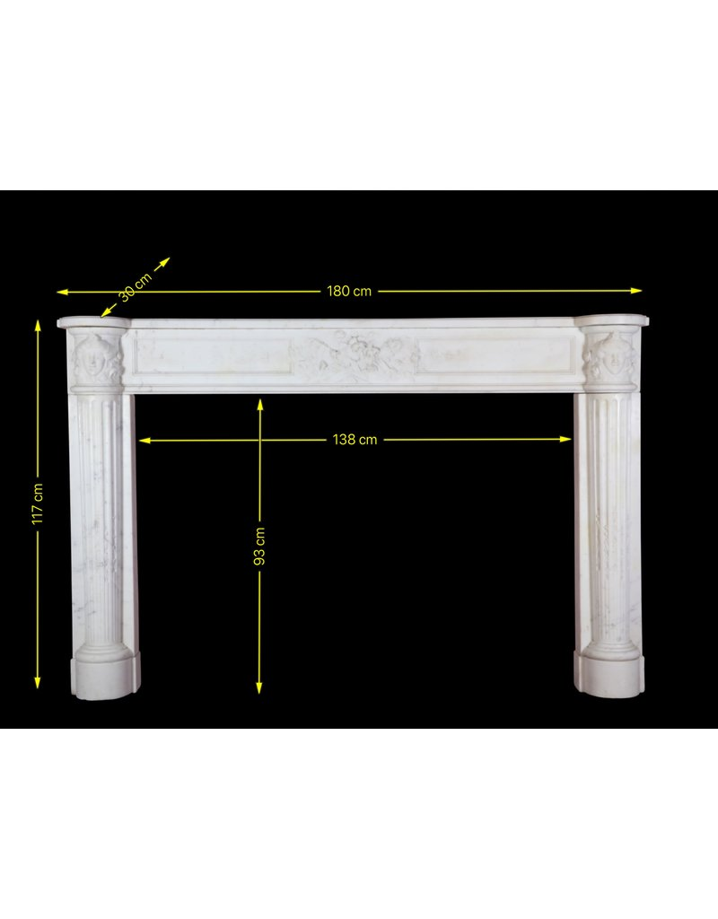 Grand French White Carrara Marble Antique Fireplace Surround