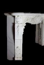 Blanco Estatuas De Mármol Belle Epoque Período Antiguo Chimenea