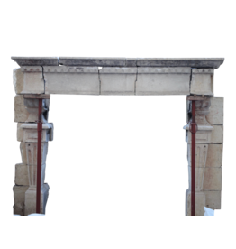 Giant Fortress Antique Fireplace Surround In Hard Limestone
