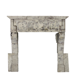 French 17Th Century Period French Country Style Limestone Fireplace Surround