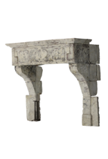 French 17Th Century Period French Country Style Limestone Fireplace Mantle