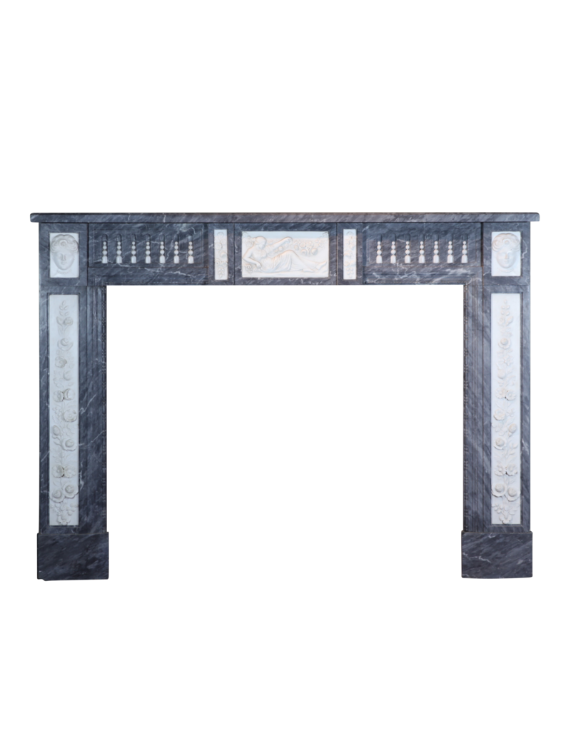 18Th Century Bicolor Belgian Marble Antique Fireplace Surround