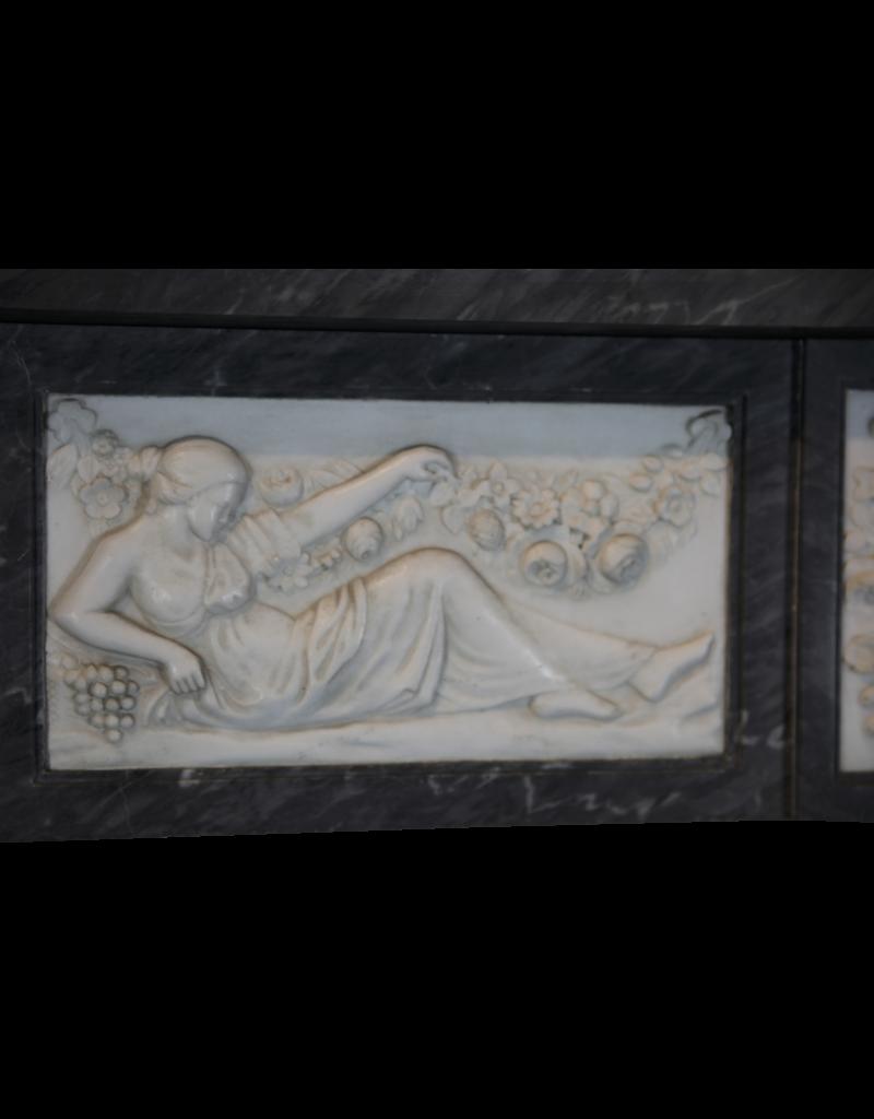 18. Jahrhundert Bicolor Belgischen Marmor Antike Kamin Maske