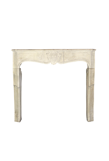 17Th Century Delicate French Country Limestone Fireplace Surround