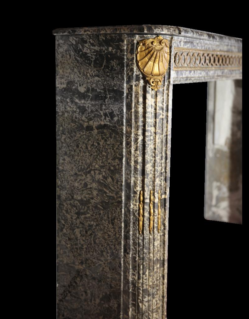 18. Jahrhundert Chique Französisch Antike Kamin Maske In Grau St-Anna Marmor