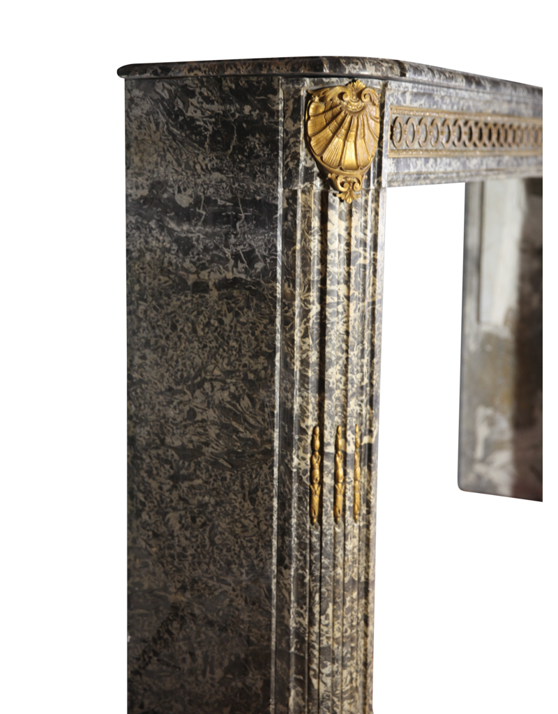 The Antique Fireplace Bank 18Th Century Chique French Antique Fireplace Surround In Grey St-Anna Marble