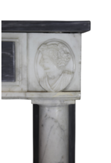 Fine Classic Fireplace Surround In Bleu Turquin Marble With Medaillons