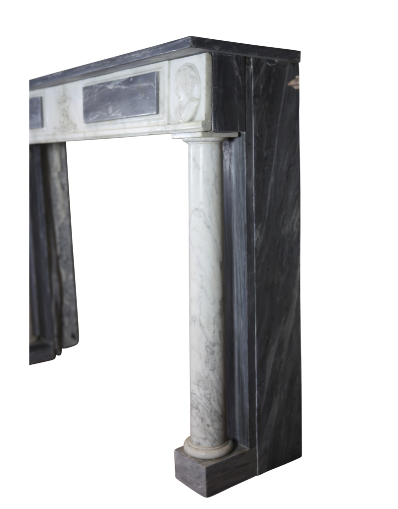 The Antique Fireplace Bank Fine Classic Fireplace Surround In Bleu Turquin Marble With Medaillons