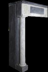 Feine Klassische Kamin Maske In Bleu Turquin Marmor Mit Medaillons