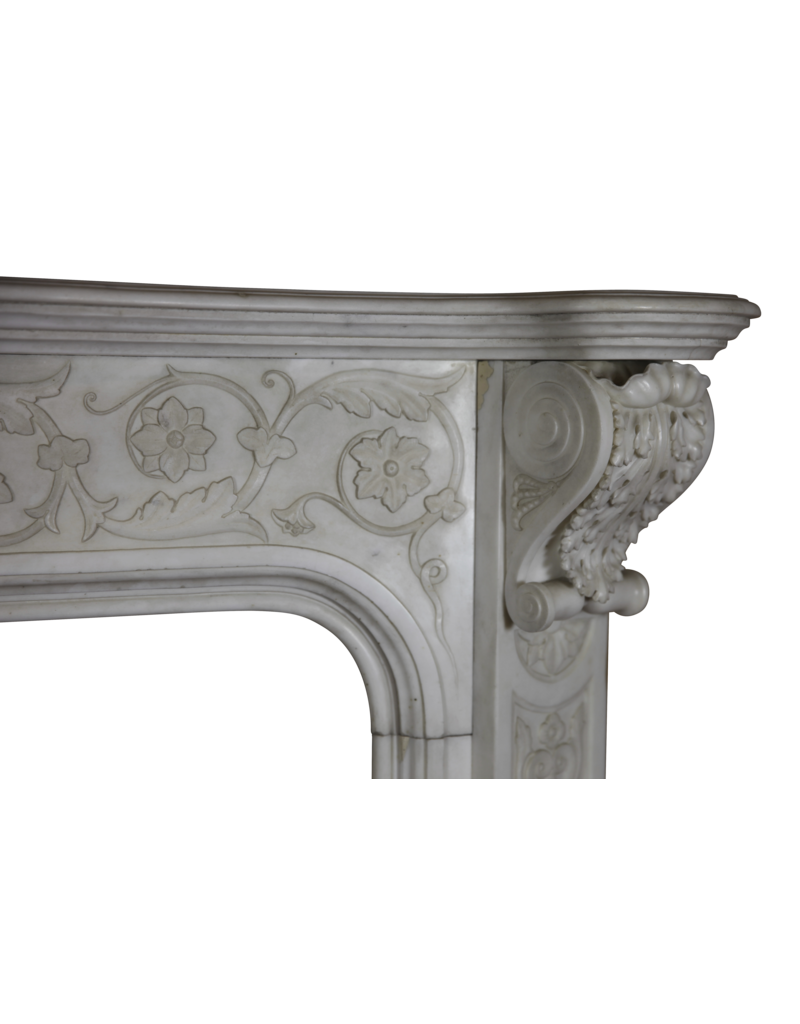 The Antique Fireplace Bank Delicate Italian Vintage Statuary White Marble Chimney Piece