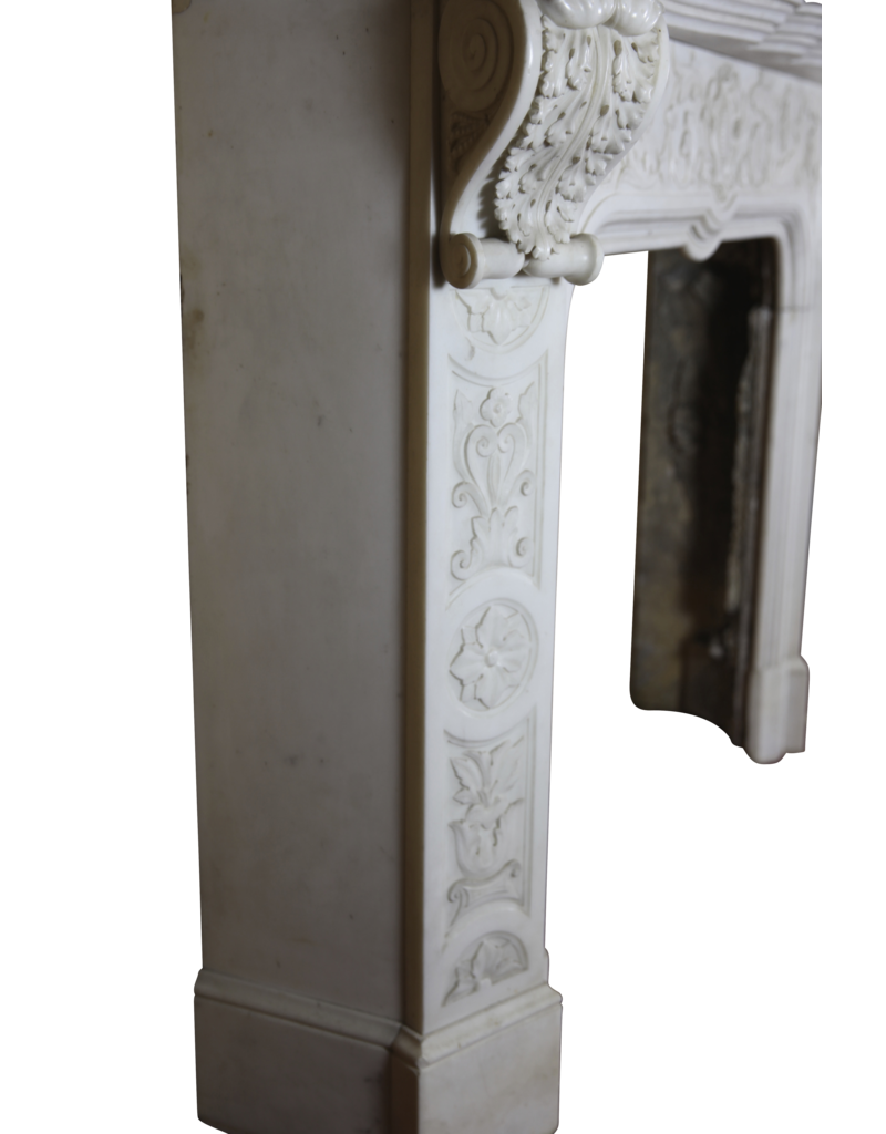 Delicate Italian Vintage Statuary White Marble Chimney Piece
